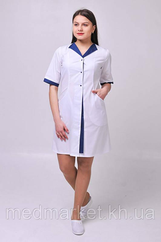 Халат медицинский Элегия ELIT COTTON Белый с темно-синим