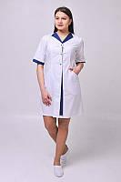 Халат медицинский Элегия ELIT COTTON Белый с темно-синим, фото 1