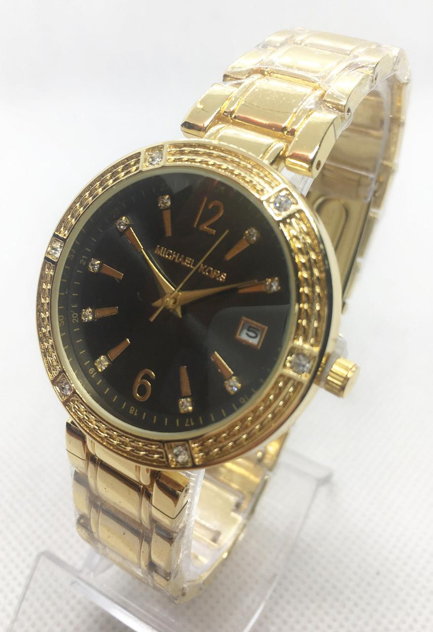 Часы женские наручные в стиле Mісhаеl Коrs (Майкл Корс), золото с черным циферблатом ( код: IBW566YB )