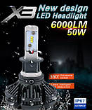 Светодиодные LED лампы для фар автомобиля X3-H4, фото 5