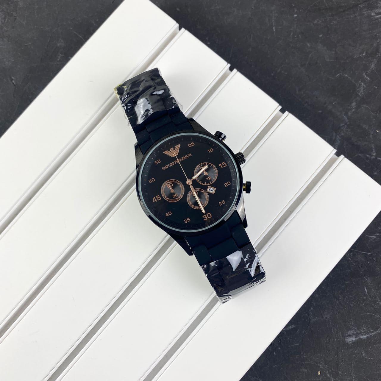 Мужские наручные часы Emporio Armani Silicone 068 Black-Cuprum