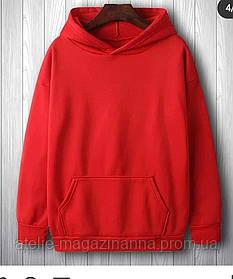 Худи  трехнитка с начёсом хлопок цвет красный в трёх размерах 42-44, 46-48, 50-52
