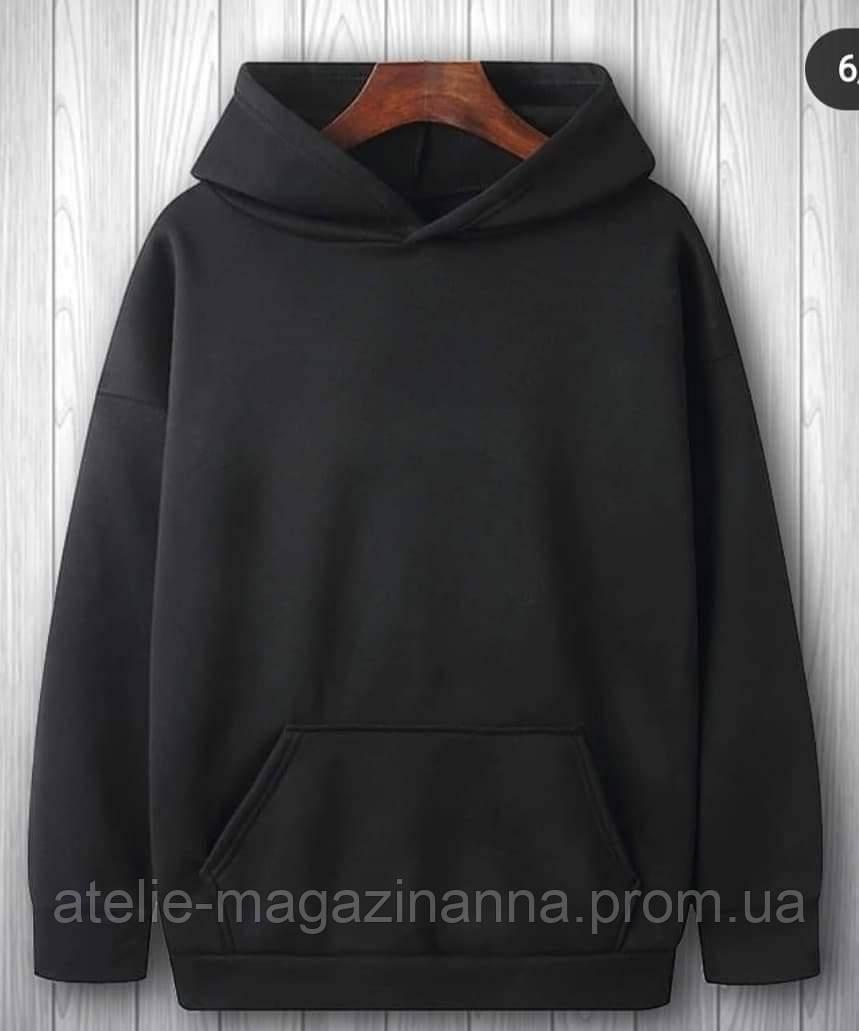 Худи  трехнитка с начёсом хлопок цвет чёрный в трёх размерах 44-46, 46-48, 50-52