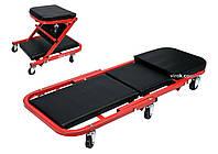Лежак-сидіння для ремонту YATO на 6 колесах, 91х 42х 13 см, для навантаження лежаче/сидяче положення - 150/120