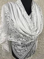 """Женский белый шарф """"Кружевное великолепие"""" (цв.01), фото 1"""
