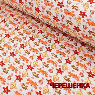Ткань для постельного белья Фланель (байка) детская FLB1002 (40м) крабики и рыбки на белом, фото 2