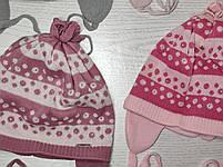 Шапка для дівчинки демісезонна на завязці з квіточками Розмір 48-50 см, фото 9