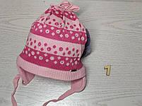 Шапка для дівчинки демісезонна на завязці з квіточками Розмір 48-50 см, фото 4