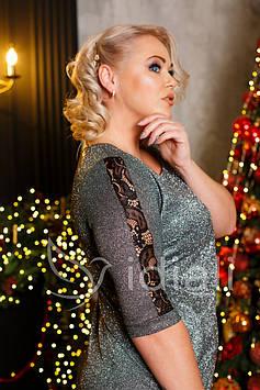 Платье люрекс+гепюр р.50-56 серебро