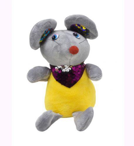 Мышка в блестящем шейном платке (серый) 026566