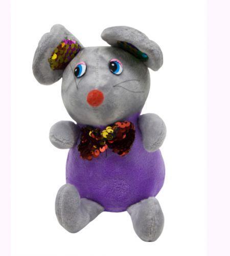 Мышка в блестящем шейном платке (фиолетовая) 026566
