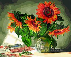 Алмазная мозаика-раскраска 30*40 см Натюрморт с подсолнухами