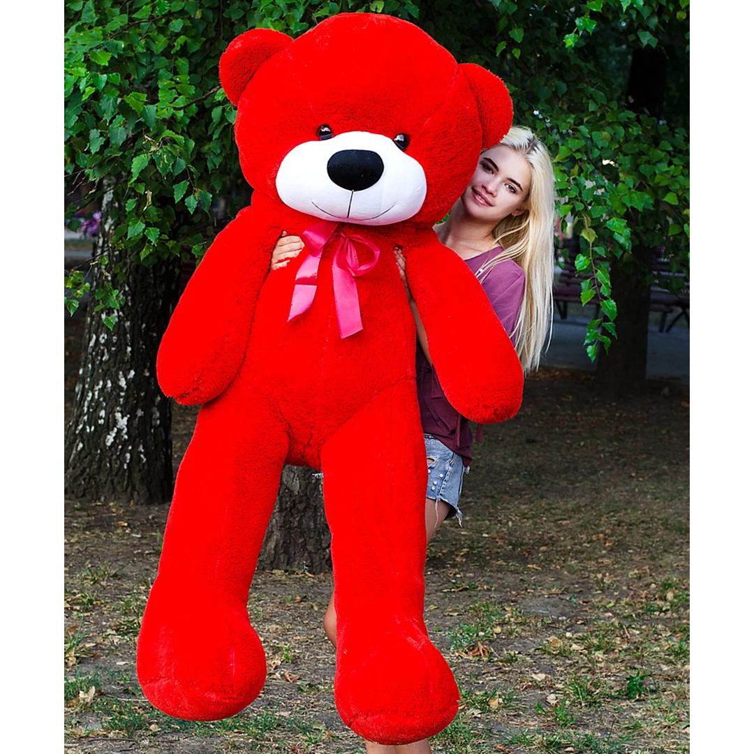 Плюшевые медведи: Плюшевый медвежонок Рафаэль 1,8 метра (180 см), Красный