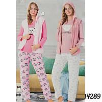 """Красивая пижама женская оптом """"Soft"""" (кофта, жилетка и штаны) FANCY Турция 14289Peach"""