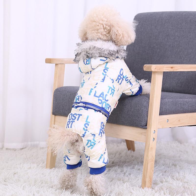 Комбинезон с капюшоном для собак Hoopet HY-Y2256 Blue XL теплый зимний
