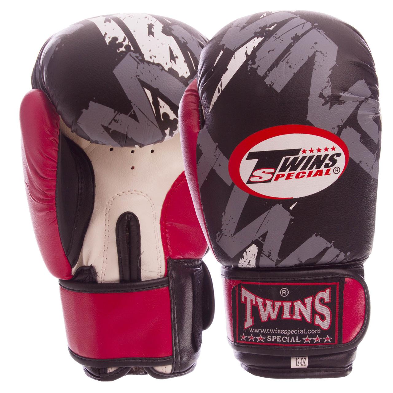 Перчатки боксерские PVC на липучке TWINS TW-2206 Красный, 12 унции