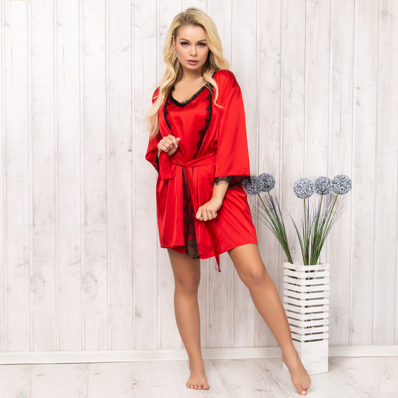 Халат женский шелковый красный New Fashion SA-150red   1 шт.
