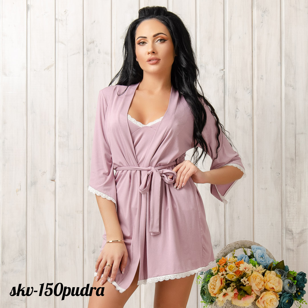 Легкий халат трикотажный женский New Fashion SKV-150pudra   1 шт.