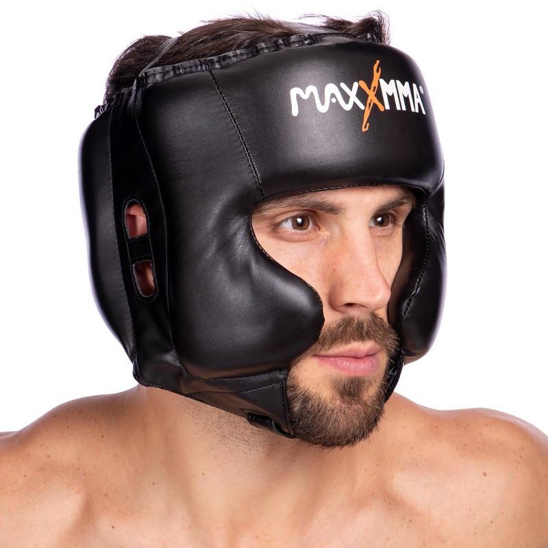 Шолом боксерський в мексиканському стилі PU MAXXMMA GBH01 (Чорний, L-XL)