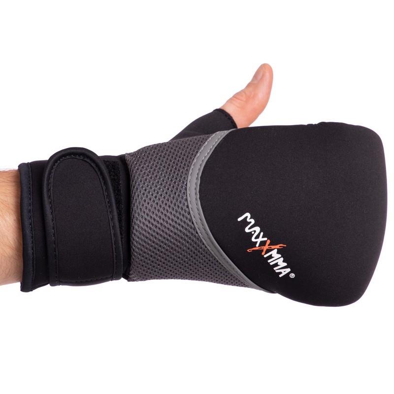 Снарядные перчатки с открытым большим пальцем неопреновые MAXXMMA GH06 S-M, Черный-серый