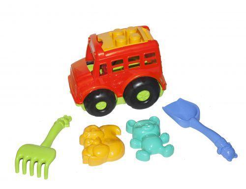 """Автобус """"Бусик"""" с песочным набором красный 0091"""