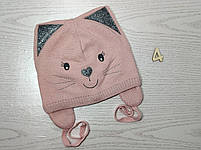 Шапка для девочки демисезонная на завязци киса с ушками Размер 46-48 см, фото 7