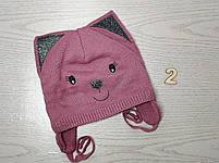 Шапка для девочки демисезонная на завязци киса с ушками Размер 46-48 см, фото 5