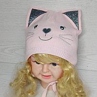 Шапка для девочки демисезонная на завязци киса с ушками Размер 46-48 см, фото 2