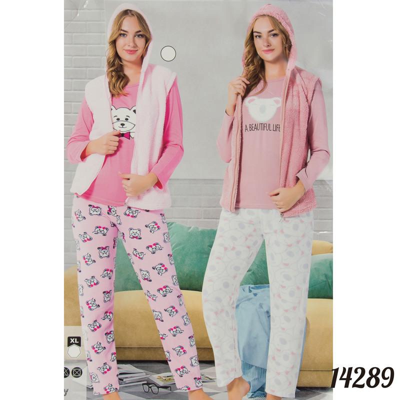 """Красивая пижама женская оптом """"Soft"""" (кофта, жилетка и штаны) FANCY Турция 14289Peach L"""