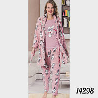 "Пижама женская тройка ""Soft"" (футболка, штаны и халат) Зайцы FANCY 14298peach L"