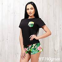 Комплект женский: футболка и шорты New Fashion KT-140green | 1 шт S-M