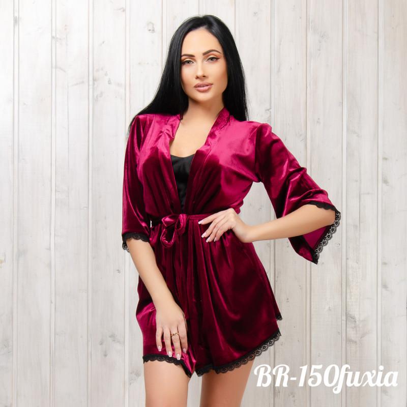 Халат бархатный женский New Fashion BR-150fuxia | 1 шт.