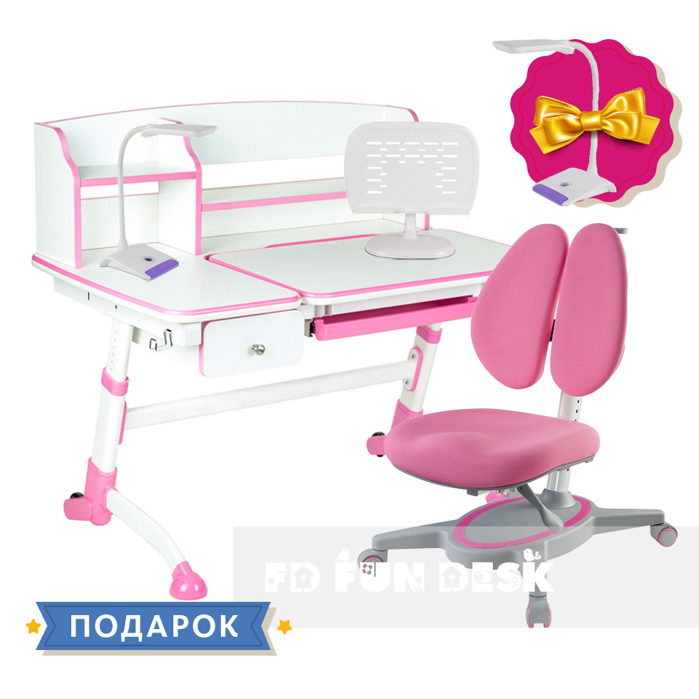 Комплект подростковая парта для школы FunDesk  Amare II Pink+ортопедическое кресло FunDesk Primavera II Pink