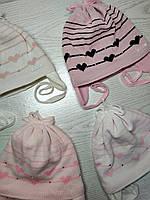 Шапка для девочки демисезонная на завязке с сердечками Размер 42-44 см, фото 9