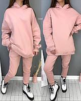 Женский однотонный спортивный костюм из двухнити с объемной кофтой (Норма и батал), фото 3