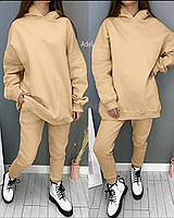 Женский однотонный спортивный костюм из двухнити с объемной кофтой (Норма и батал), фото 4
