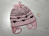 Шапка для девочки демисезонная на завязке с сердечками Размер 42-44 см, фото 7