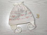 Шапка для девочки демисезонная на завязке с сердечками Размер 42-44 см, фото 6