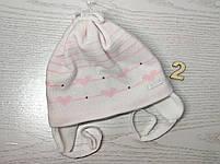 Шапка для девочки демисезонная на завязке с сердечками Размер 42-44 см, фото 5