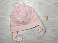 Шапка для девочки демисезонная на завязке с сердечками Размер 42-44 см, фото 4