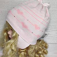 Шапка для девочки демисезонная на завязке с сердечками Размер 42-44 см, фото 3