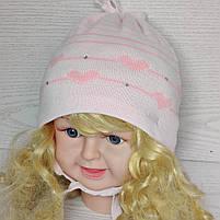 Шапка для девочки демисезонная на завязке с сердечками Размер 42-44 см, фото 2