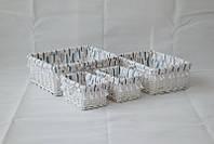 Корзина плетеная Graphics прямоугольная белая 22х16х12 см
