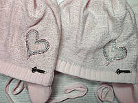 Шапка для девочки демисезонная на завязке с сердечком Люрекс Размер 44-46 см, фото 10