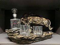 "Набор для виски ""Бык"" (графин + 2 стакана). Подарок мужчине"