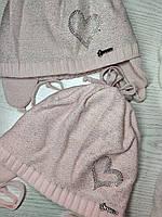 Шапка для девочки демисезонная на завязке с сердечком Люрекс Размер 44-46 см, фото 9
