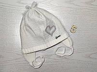 Шапка для девочки демисезонная на завязке с сердечком Люрекс Размер 44-46 см, фото 8