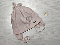 Шапка для девочки демисезонная на завязке с сердечком Люрекс Размер 44-46 см, фото 7