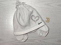 Шапка для девочки демисезонная на завязке с сердечком Люрекс Размер 44-46 см, фото 6