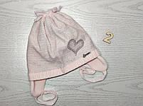 Шапка для девочки демисезонная на завязке с сердечком Люрекс Размер 44-46 см Возраст 6-12 месяцев, фото 5